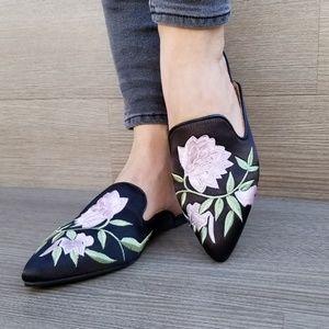 Shoes - Embroider Flower on Black Satin  Mule Loafer